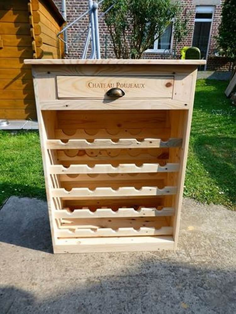 Diy Recycled Pallet Wine Rack With Drawer Pallet Wood