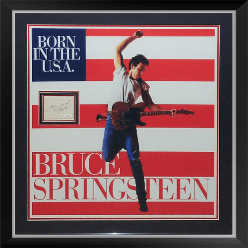 bruce springsteen born in the usa 24x24 concert poster deluxe framed with autograph jsa full letter