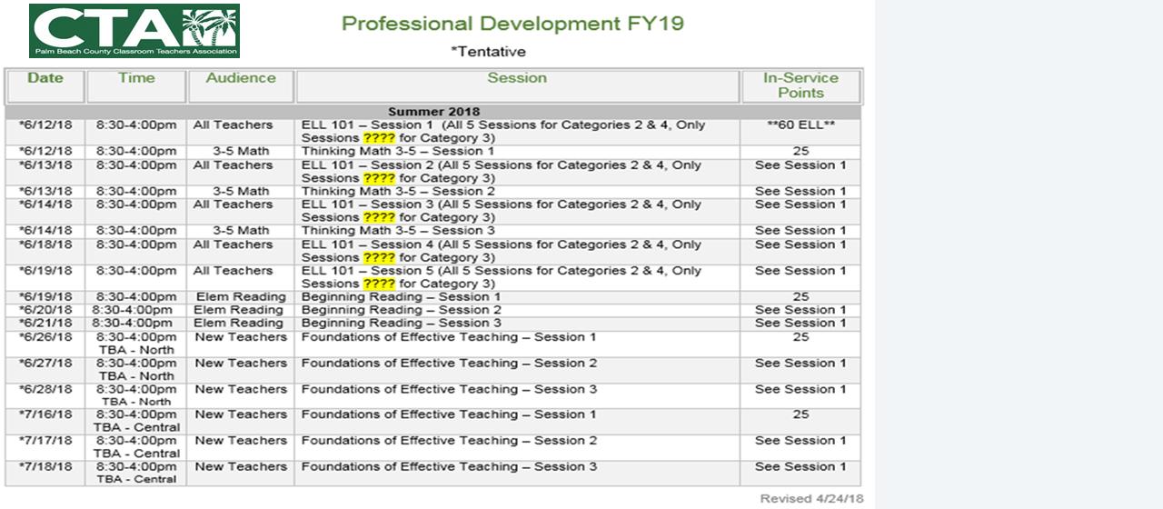 2018 Summer/Fall CTA Professional Development Schedule
