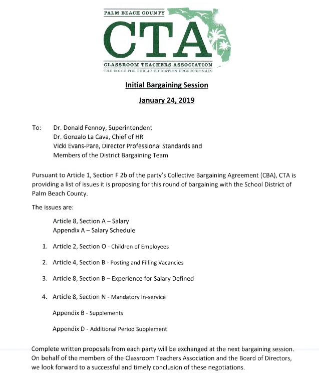 2018-2019 CTA/SDPBC Negotiations Have Begun… – Palm Beach