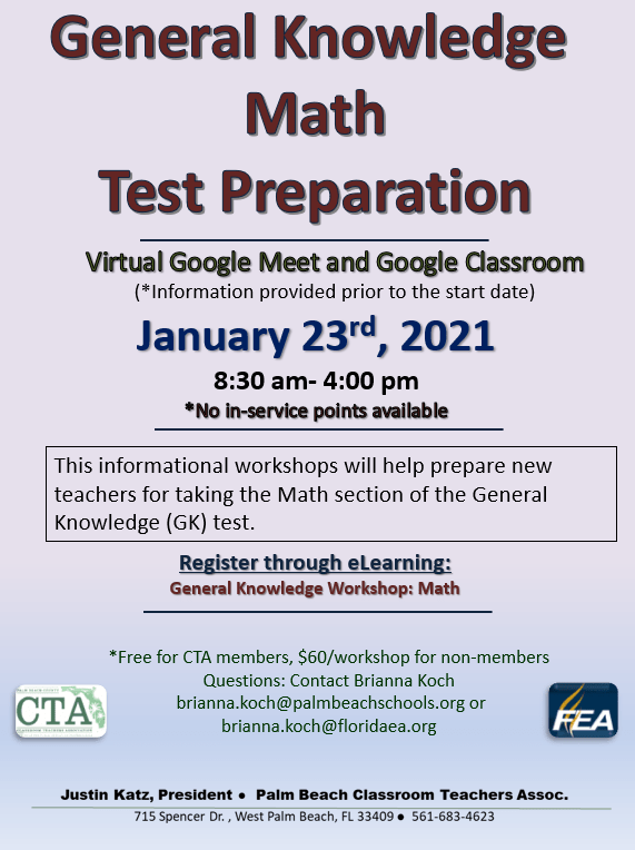 CTA PD – General Knowledge MATH Test Prep