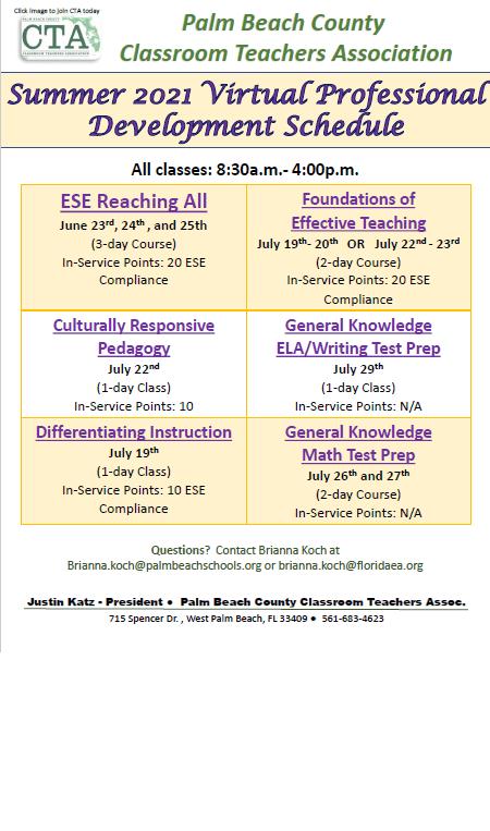 CTA Summer 2021 Professional Development Schedule