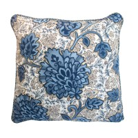 EMBROIDERED FLORAL BLUE PILLOW