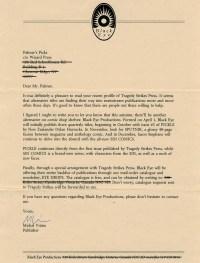 black eye productions publisher michel vrana letter to palmer's picks writer tom palmer jr at wizard magazine