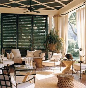 Create an outdoor living room with WeatherWell Shutters.  Call Palmetto Outdoor Spaces in Greer SC for a free consultation.