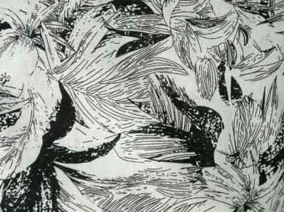Ткань лен цветочный принт черный купить оптом и в розницу в Украине