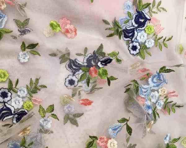 Ткань Сетка с вышивкой Цветы купить оптом в Украине