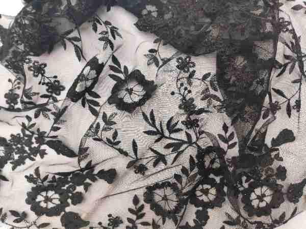 Ткань Сетка с камнями Черный купить оптом в Украине