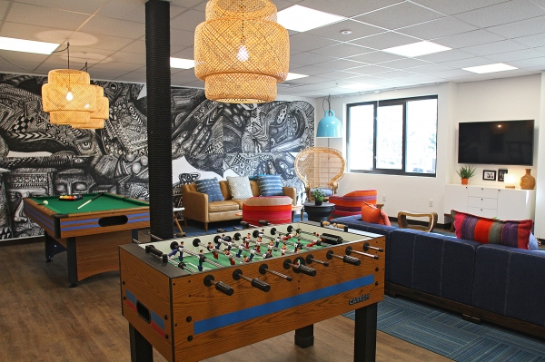 The teen lounge at the new Ronald McDonald House features
