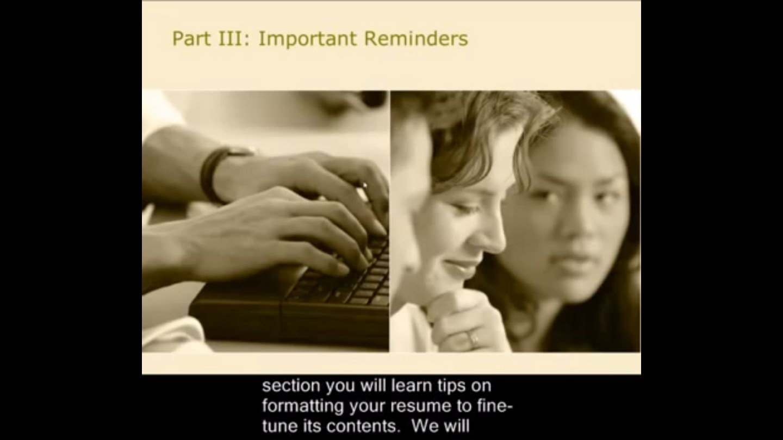 Resume Writing Part 3