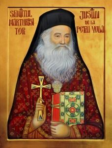 Sfintitul Marturisitor JUSTIN de la Petru Voda_icoana realizata de maicile de la man. Paltin - Petru Voda