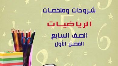 Photo of جميع الملخصات والشروحات في مادة الرياضيات للصف السابع الفصل الأول