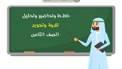 Photo of خطط وتحاضير وتحليل تلاوة وتجويد الصف الثامن الفصل الاول
