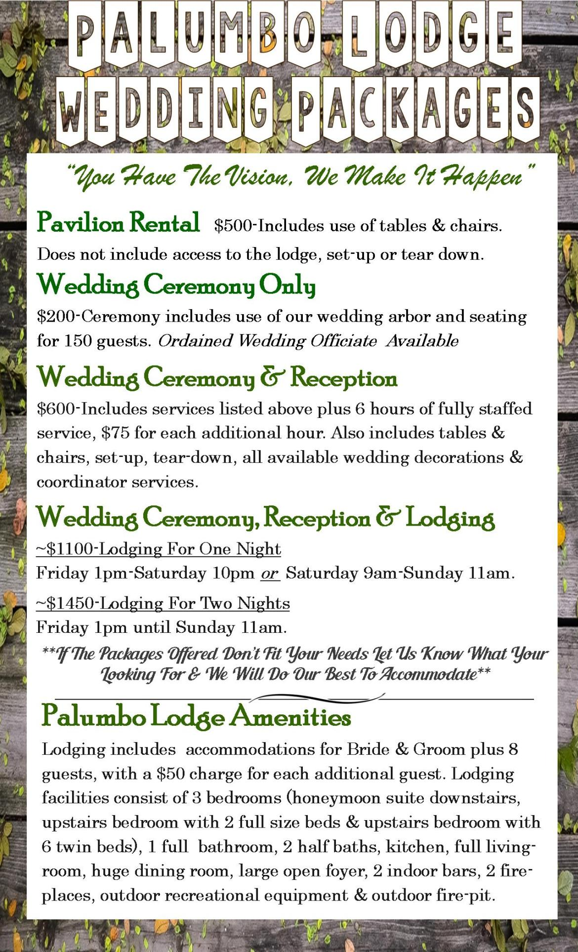 Wedding Packages Palumbo Lodge Event Center