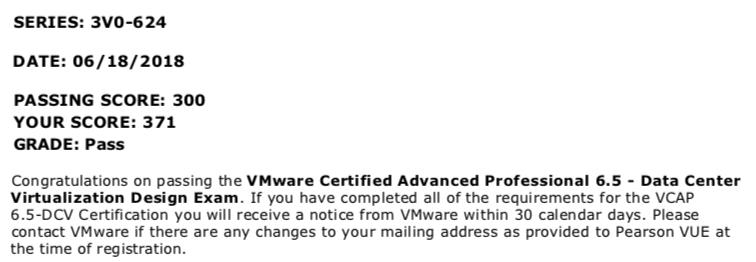 Achievement Unlocked: VMware VCAP 6 5 DCV 3v0-624 Exam - Summary and