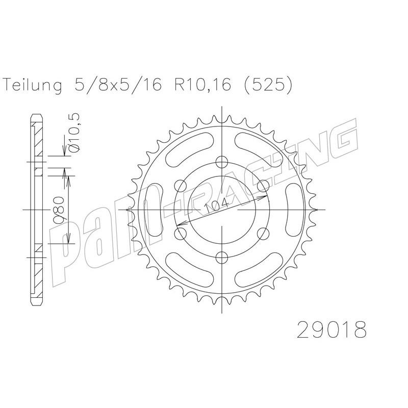 Couronne acier 525 ZX6R / ZX7R / ZX9R / ZX10R / Z1000 SRT