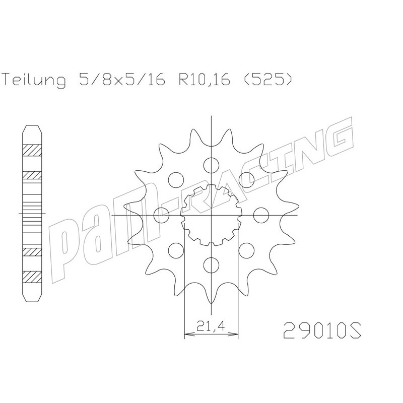 Pignon de sortie de boite 525 allégé ZX10R, GSXR 600/750