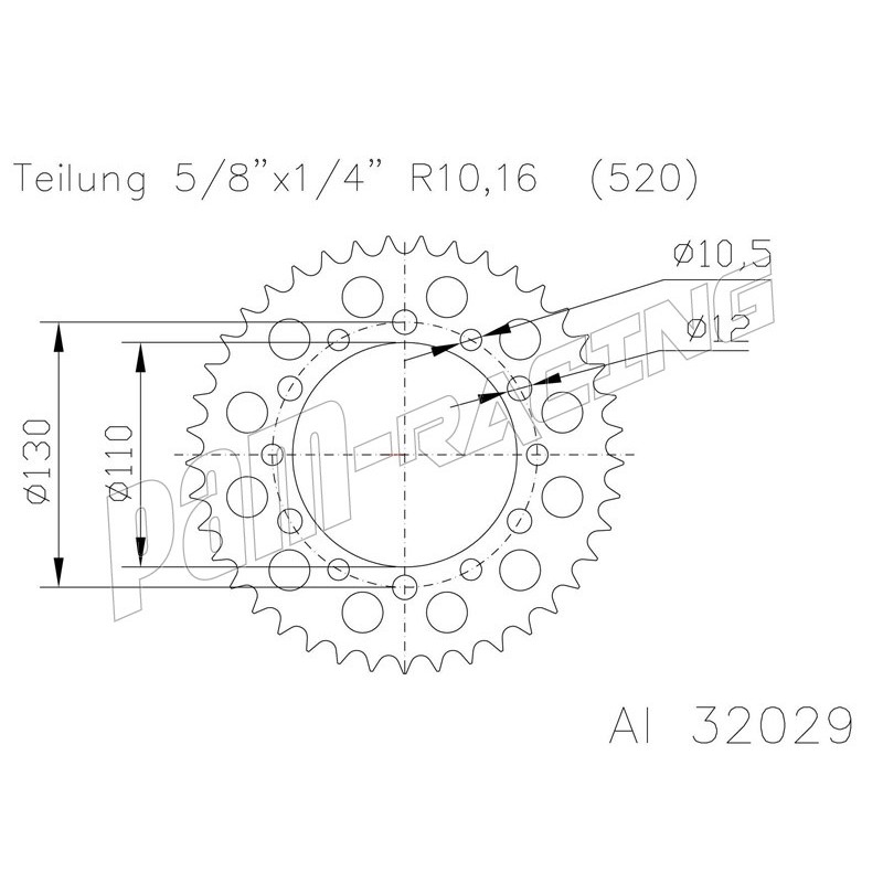 Couronne alu racing 520 GSXR 600/750/1000 / R1 / R6 / FZ1