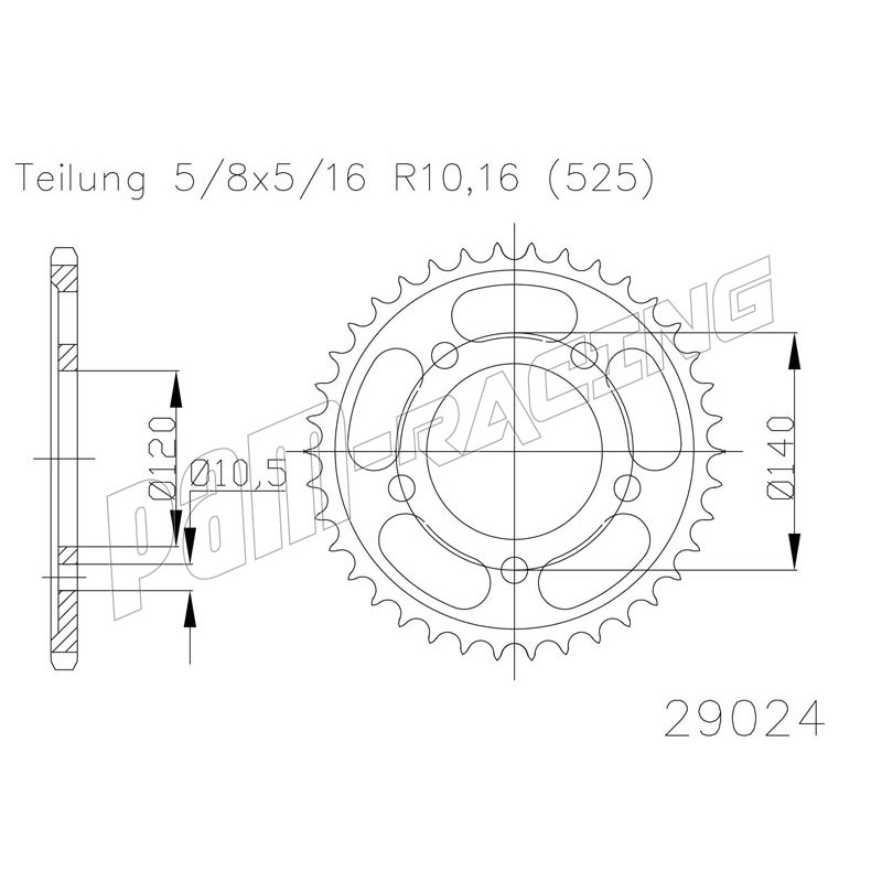 Couronne acier 525 GSXR 600/750 2001/2000-2010, GSR600