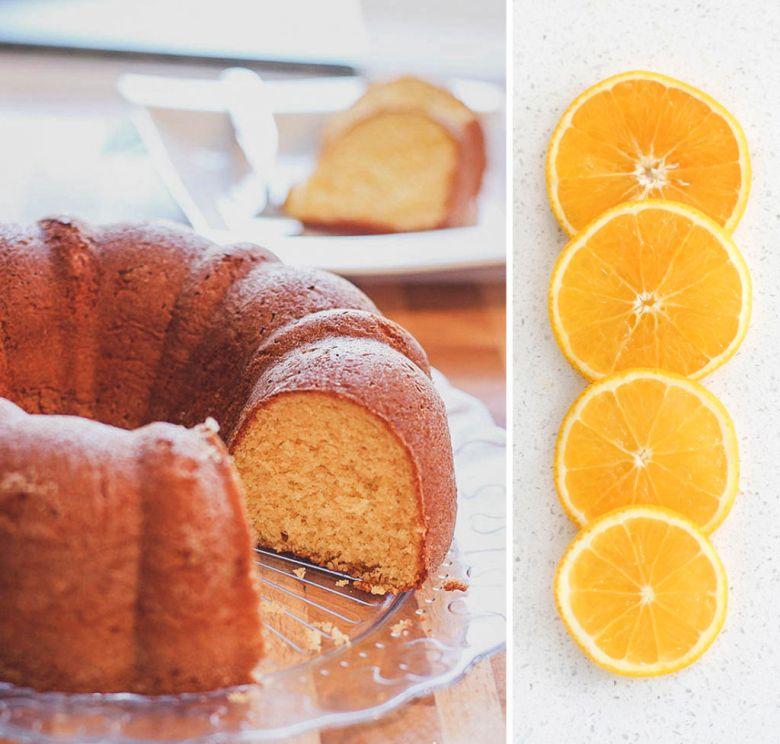 bolo de laranja e fuba