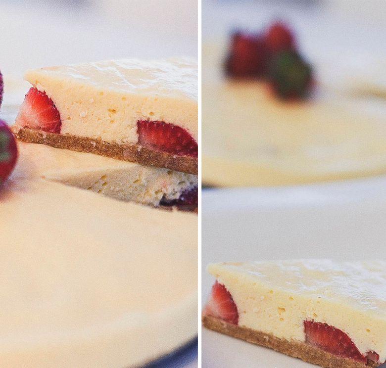 torta de leite condensado e morango