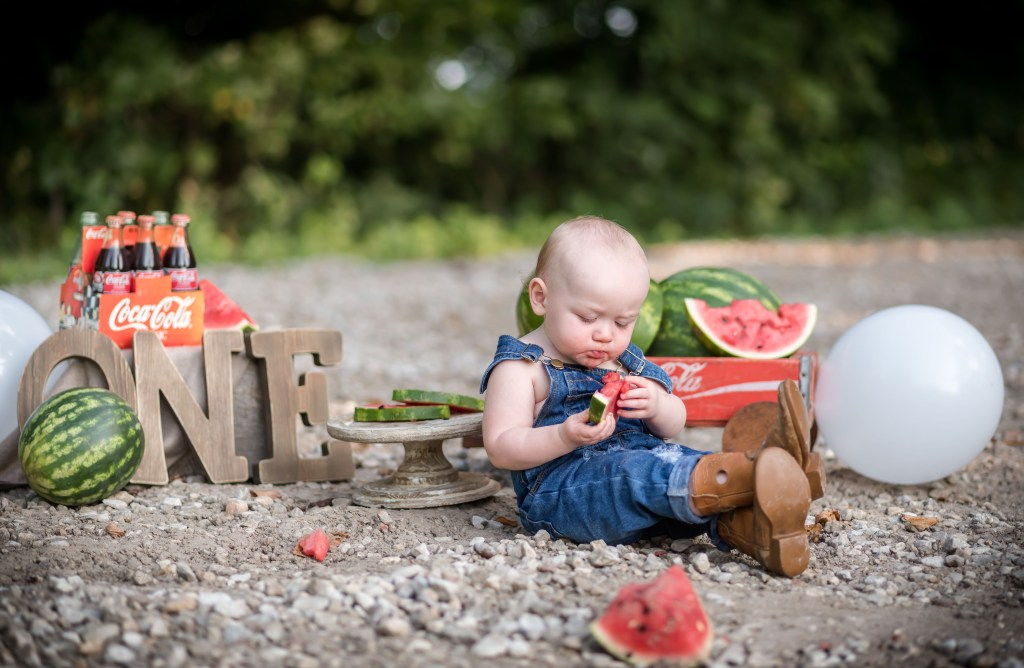 One Year Old Watermelon Smash