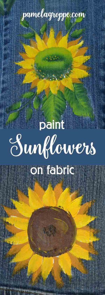 How to Paint Sunflowers on Fabric. A fun and easy design to help you create sunny sunflowers on anything you choose. Painting on fabric is easy and fun, make gifts, create unique designs for craft fairs or an Etsy shop.