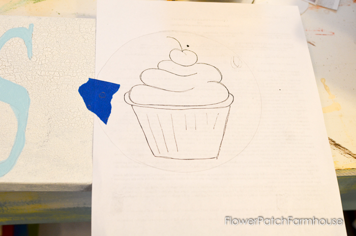 Paint a Cupcake Sign, vintage inspired sign painted in acrylics, a great beginners tutorial