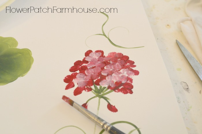 Paint a basket of red geraniums one stroke at a time. Easy beginners painting lesson.
