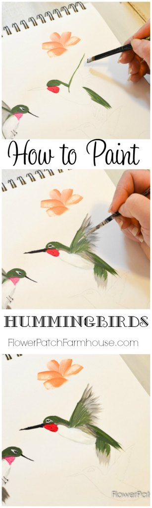 How to Paint a Hummingbird, one stroke at a time in acrylics. Easy step by step tutorial with video.