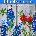 Painting texas bluebonnets on canvas with Indian paintbrush, text overlay, Paint Texas Bluebonnets with step by step video