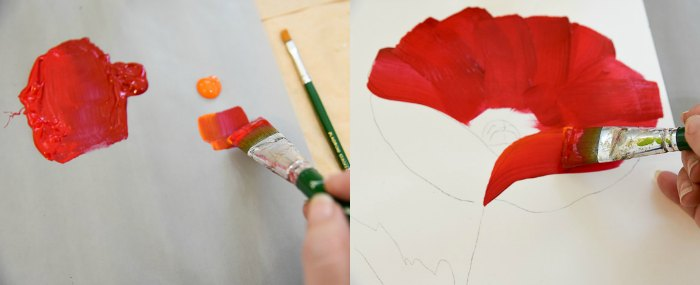 Paint a Large Red Poppy, adding orange