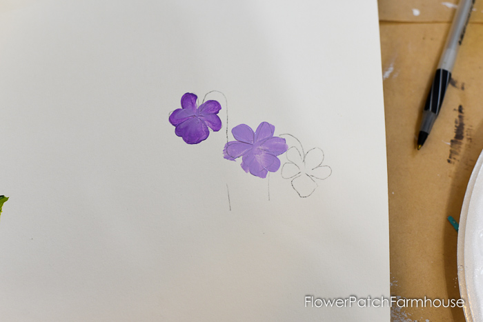 painting violet petals, How to Paint Violets
