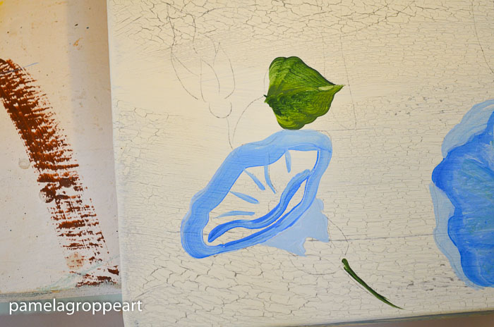 Painting in outline of morning glory painting, How to paint Morning Glories