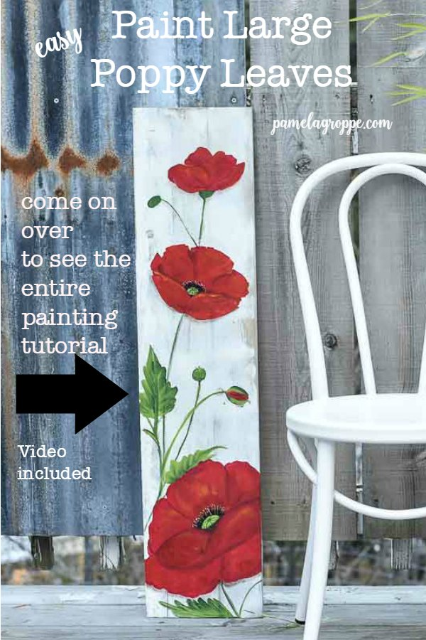 How to Paint Large Poppy leaves, easy painting lesson anyone can do. A full painting tutorial with video included for step by instructions. Come paint with me!