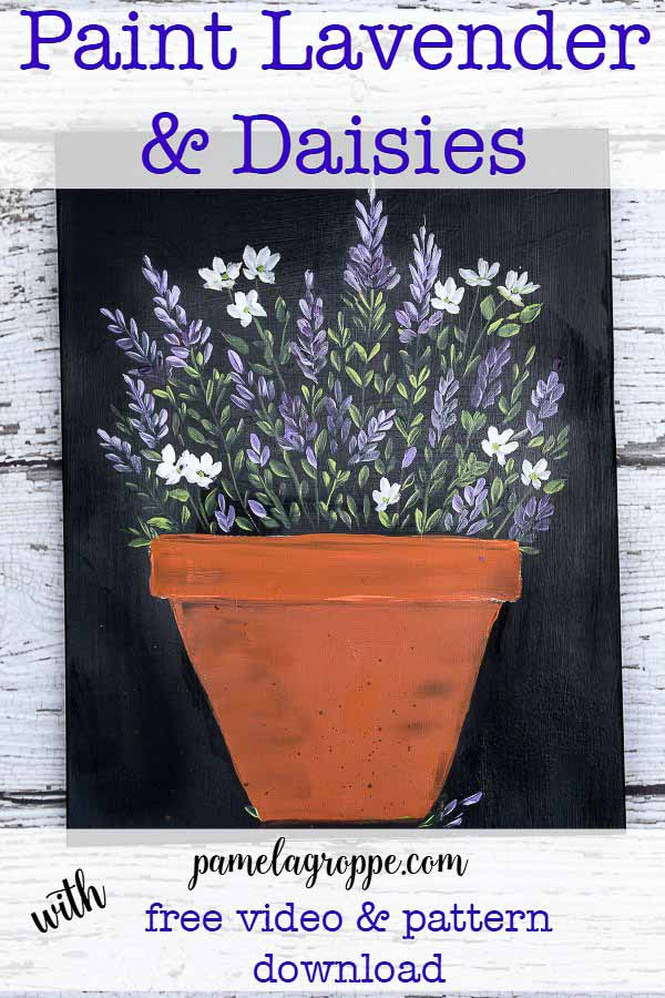 Paint Lavender and Daisies in a terra cotta pot phote