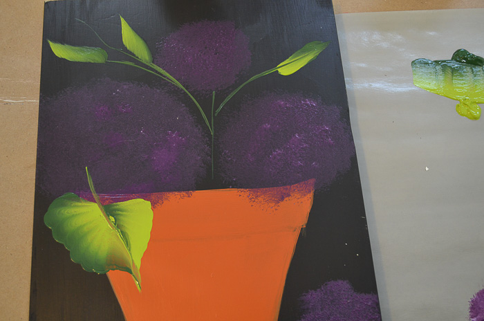 Purple hydrangeas beginning, Paint Hydrangeas in a Terra Cotta Pot