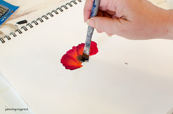 Pounce center of poppy painting