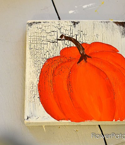 hand painted orange pumpkin, learn how to paint, pamela groppe art