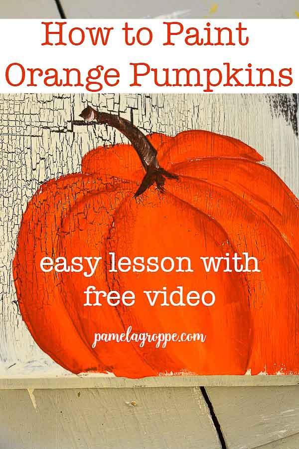 Orange pumpkin painted in acrylics
