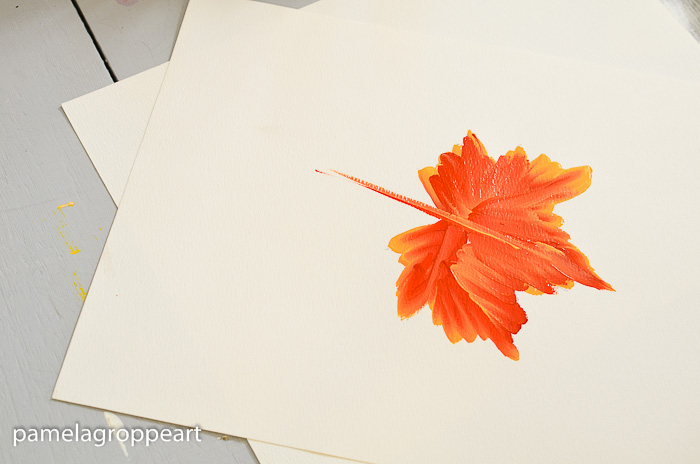 Pull stem into leaf on How to Paint Fall Leaves