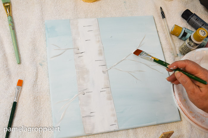 Tap snow onto the Aspen branches, How to Paint an Aspen tree, or Birch tree