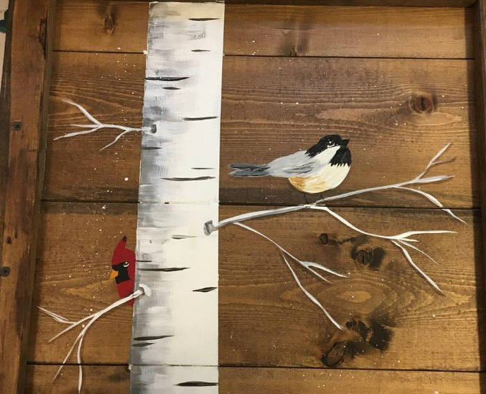 chickadee and cardinal in an Aspen tree painting, How to Paint an Aspen tree