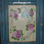 Roses and ribbons painted on cabinet door, How to Paint Ribbons