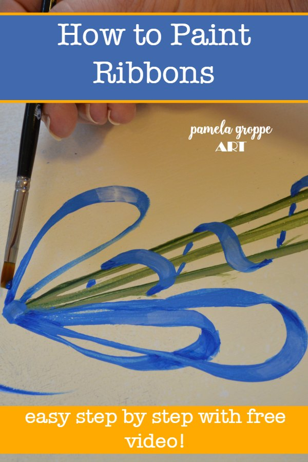 Painting a blue ribbon with wording, How to Paint Ribbons