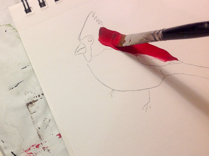 Paint first stroke, How to Paint a Cardinal in Acrylics