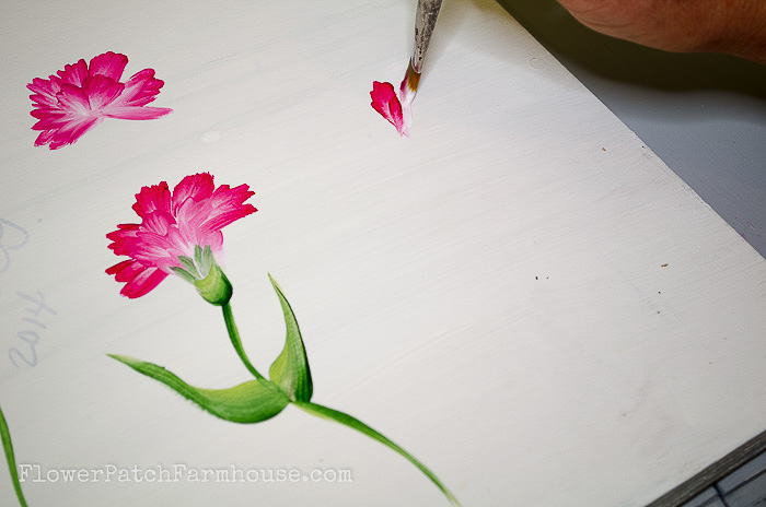 Beginning stroke of painting carnations in acrylics, pamela groppe art