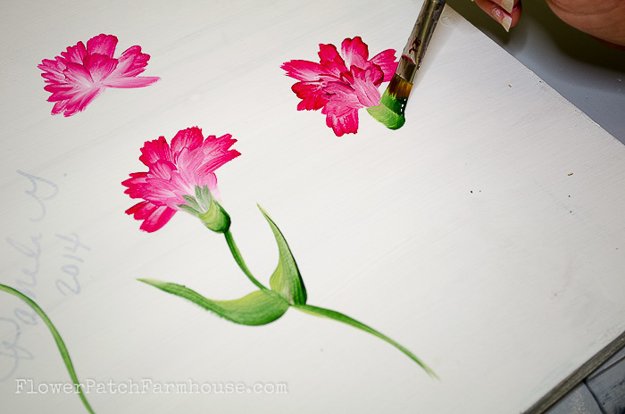Painting the calyx of the carnation with a u stroke, pamela groppe art