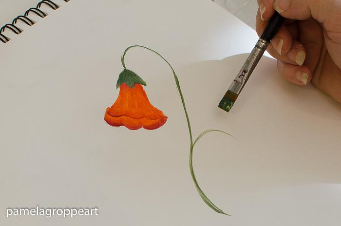 paint the trumpet vine stem, pamela groppe art