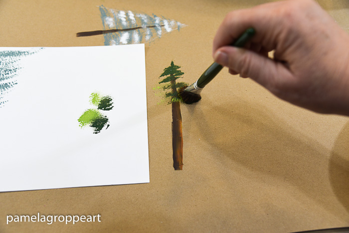 Painting an evergreen tree with a scruffy brush, pamela groppe art